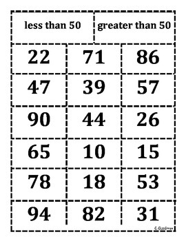 Comparing numbers sort 50