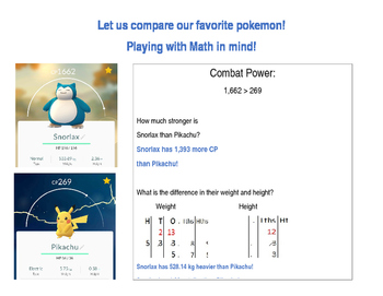 Comparing numbers using Pokemon Go