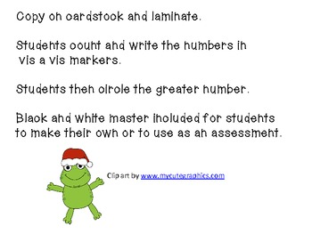 Comparing numbers with Christmas Frog