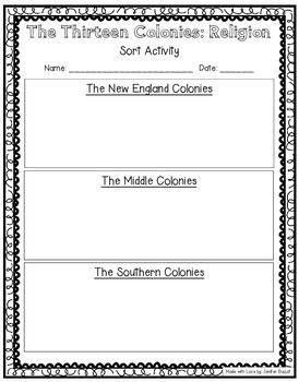 Compare the Colonial Regions Activity Pack