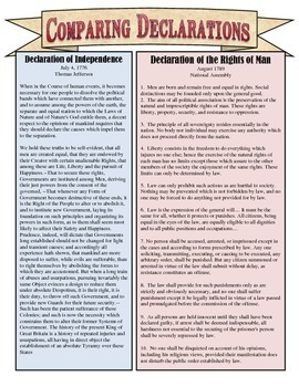 Comparing the declaration of independence declaration of the comparing the declaration of independence declaration of the rights of man ccuart Images