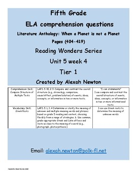 Comparing the Overall Structure McGraw Hill Reading Wonders Lit Anth U5W4