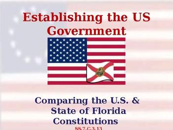 Comparing the US & Florida Constitutions - Unit Vocabulary Exercise