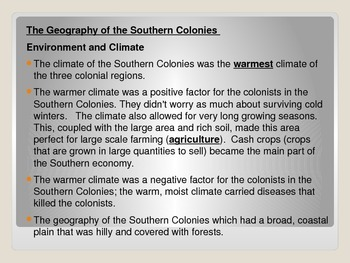 Comparing the northern and southern colonies
