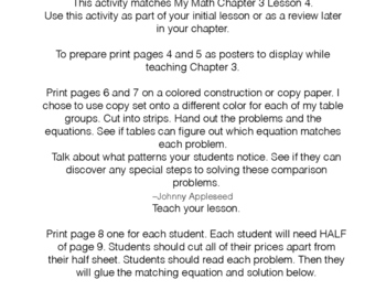 Comparing to Solve Cut 'n Paste My Math Chapter 3 Lesson 4