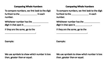 Comparing whole numbers notes for notebook