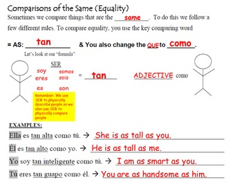 Comparing with Adjectives (Inequality and Equality): Spanish Quick Lesson