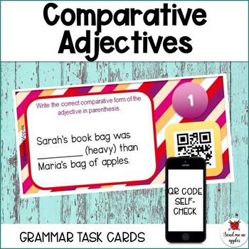 Comparing with Adjectives Task Cards - QR code self-checking