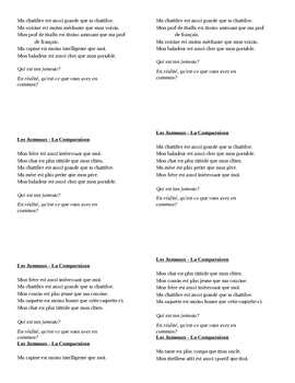 Comparatif (Comparison in French) Jumeaux Speaking activity 1