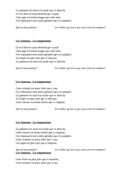 Comparatif (Comparison in French) Jumeaux Speaking activity 2
