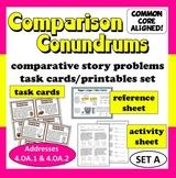 Comparison Conundrums math story problems task cards + printables (set a)