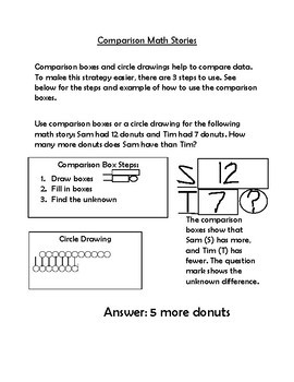 Comparison Math Stories reference sheet