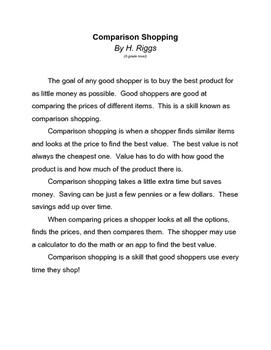 Comparison Shopping Article