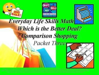 Comparison Shopping: Everyday Life Skills Math Series: Packet Three