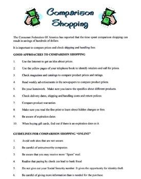 Comparison Shopping Lesson