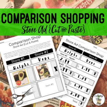 Store Ads Comparison Shopping {Cut & Paste} - Life Skills Money Math