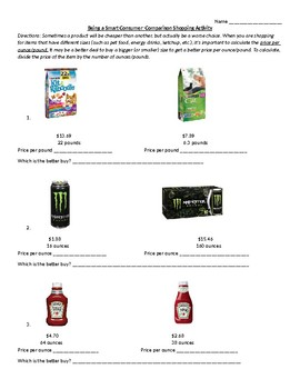 Comparison Shopping: Unit-Pricing
