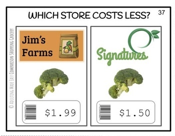 Comparison Shopping Which Costs Less? (up to $10) Task Cards & Worksheet