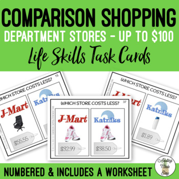 Comparison Shopping Which Costs Less? (up to $100) Task Cards & Worksheet