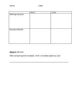 Comparison Shopping Worksheet