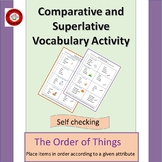 Comparison and Superlative Vocabulary Activity; The Order of Things