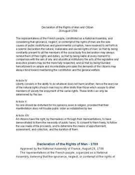 Comparison of Declaration of Rights of Man and Women
