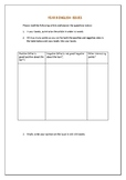Comparison table and simple questions used for Analysing I