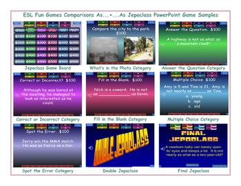 Comparisons As...+...As Jeopardy PowerPoint Game
