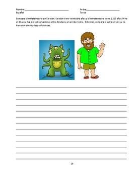Comparisons Observational Writing Activity-SPANISH
