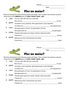 Comparisons in French - Plus ou moins? worksheet