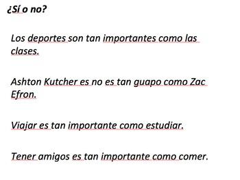 Comparisons of Equality Spanish Realidades 2 1B (tan + adj + como, etc.)