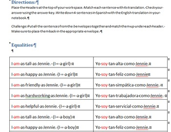 Comparisons with Adjectives in Spanish - Shelfwork