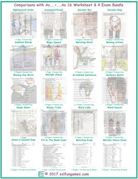 Comparisons with As...+...As 16 Worksheet- 4 Exam Bundle