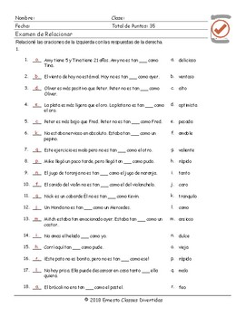 Comparisons with As...+...As Spanish Matching Exam