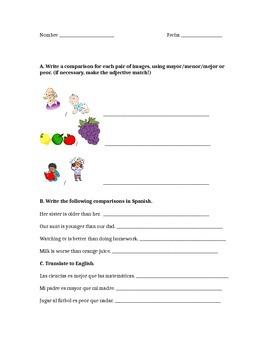 Comparisons worksheet Avancemos 3.2