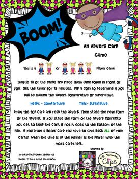 Comparitive and Superlative Adverb Card Game- BOOM!