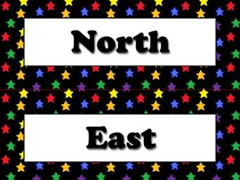 Compass Rose Cardinal and Intermediate Directions Strips Superstars Theme