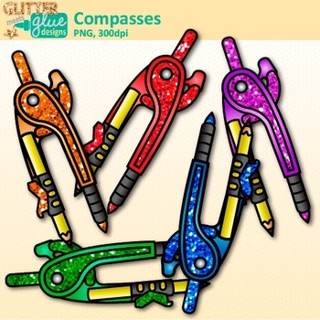 Rainbow Compass Clip Art {Measurement Tools for Math Resources}