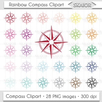 Compass Clipart Rainbow Compass Clip Art Rose of Winds Printable Scrapbooking
