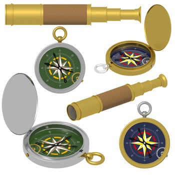 Compass Clipart, Telescope Clipart, Summer Camping Commercial Use Graphics