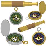 Compass Clipart, Telescope Clipart, Summer Camping Commerc