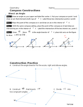 Compass Construction:  Bisect an Angle (Angle Bisector)