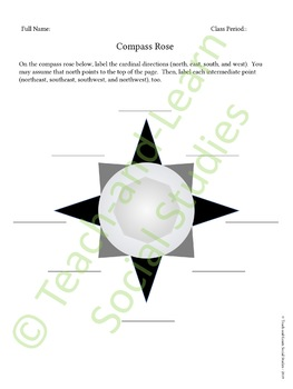 Compass Rose Activity Sheets - Product Includes Free Quiz!