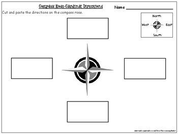 Compass Rose- Cardinal Directions Cut and Paste Activity Worksheets