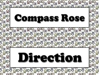 Compass Rose Cardinal and Intermediate Directions Strips Owls Theme
