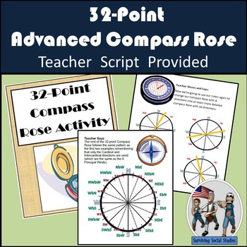 Compass Rose Activity - 32-Direction Compass Rose - Lesson/Activity/Quiz