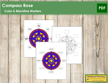 photo relating to Printable Compass Rose identify Comp Rose Printable by way of Montessori Print Keep Lecturers