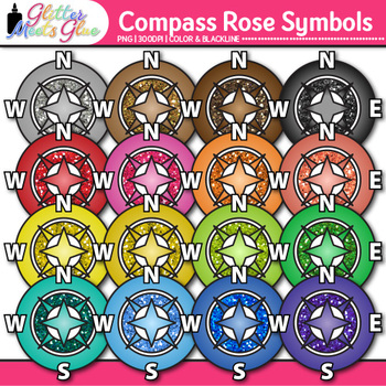 Compass Rose Symbol Clip Art {Geography, Map Skills, and S