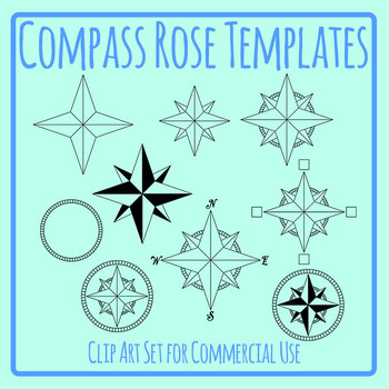 Compass Rose Templates / Directions / Mapping Clip Art Set Commercial Useq