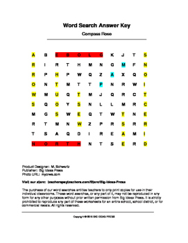 Compass Rose Word Search (Grades 1-2)